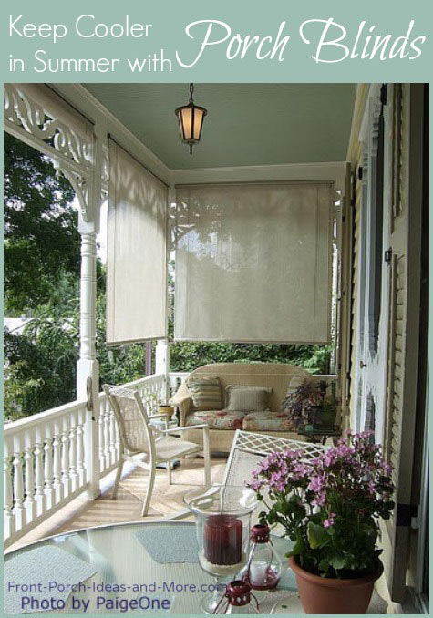 Beautiful porch with shades and wicker furniture