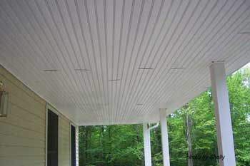Porch ceiling with open butt joints