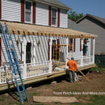 front porch being framed