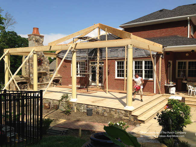 back porch framing on brick home