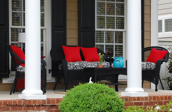 porch decorated with colorful cushions
