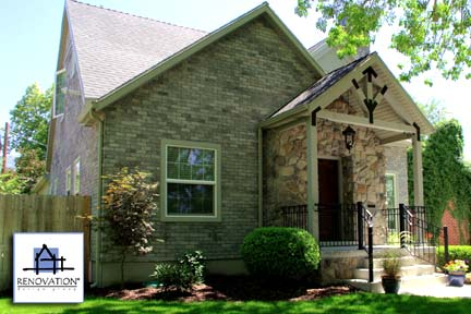 Porch designs - cottage after - brick and stone - lovely small porch added by the Renovation Design Group