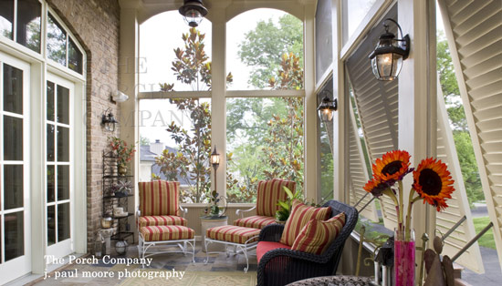 beautifully decorated porch enclosure