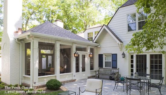 custom designed porch enclosure with fireplace