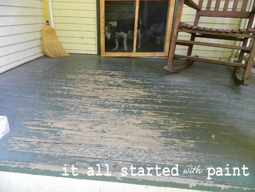 Worn porch flooring