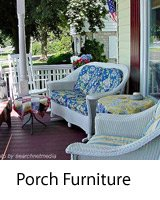 wicker furniture on front porch