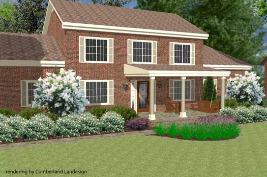 after photo of home with porch landscaping ideas