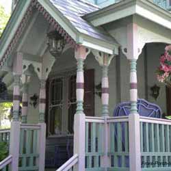 colorful Victorian front porch