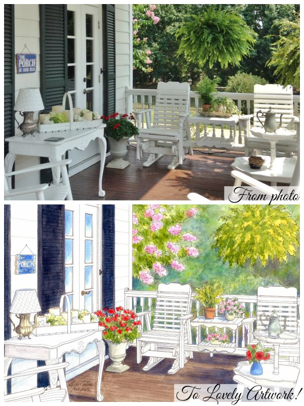 Beautiful watercolor portrait of Lauretta's front porch - winning entry in our pleasant summer porch contest
