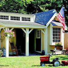 shed with front porch design
