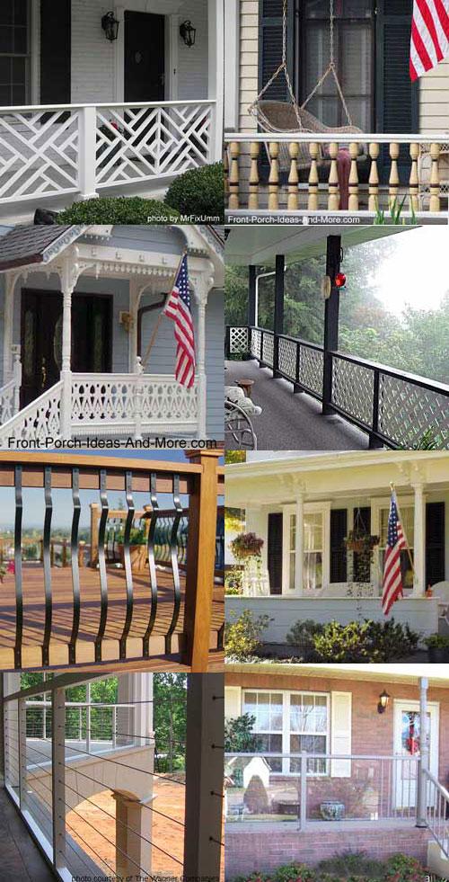 collage of porch railing designs