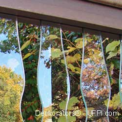 vertical curved glass balusters on porch