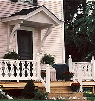 sawn railings on porch courtesy of Vintage Woodworks