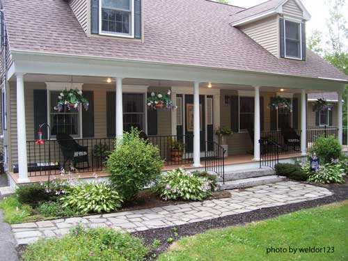 wrought iron railing on front porch