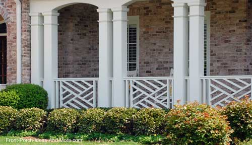chippendale wood railings on front porch