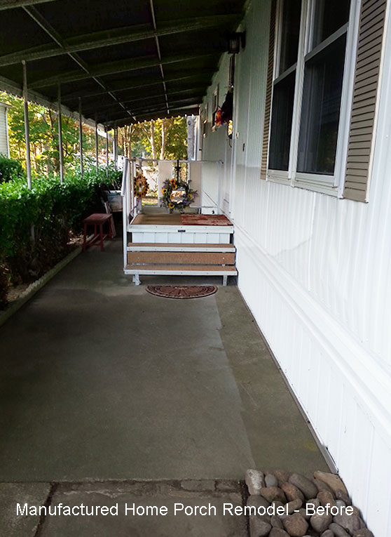 manufactured home with old looking front porch before remodel
