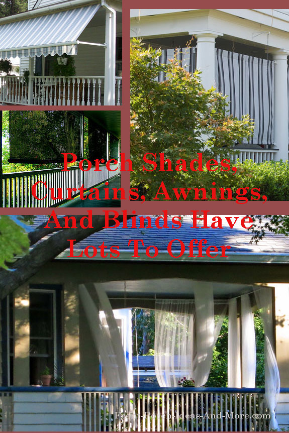 collage with porch shades, awnings, and curtains