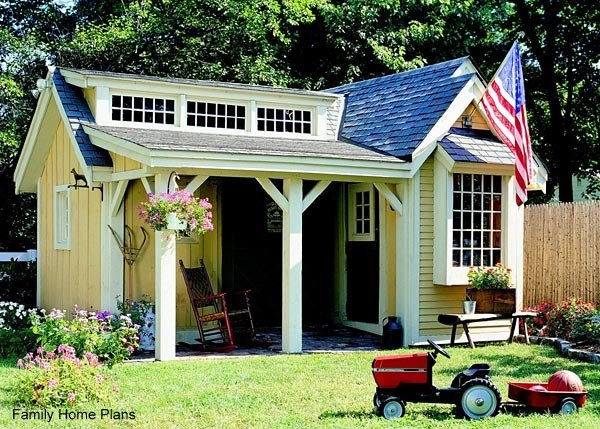 colorful potting shed with porch