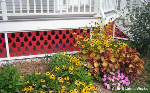 red porch skirting with pineapple pattern