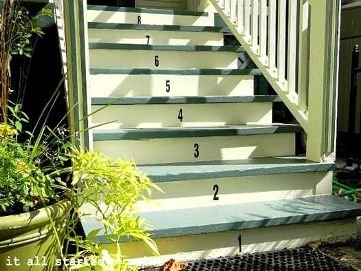 Numbered porch steps