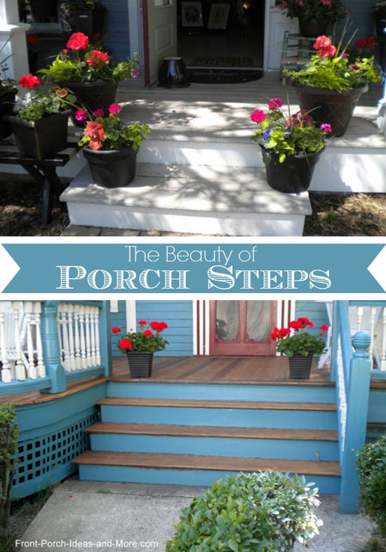 porch steps lined with geraniums