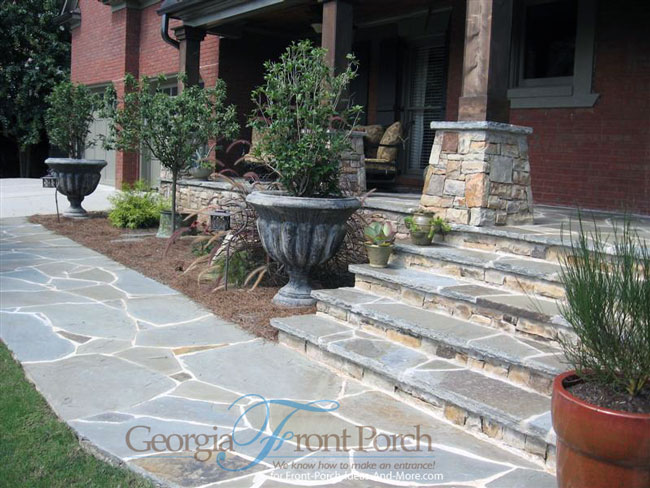 front porch stone steps and walkway