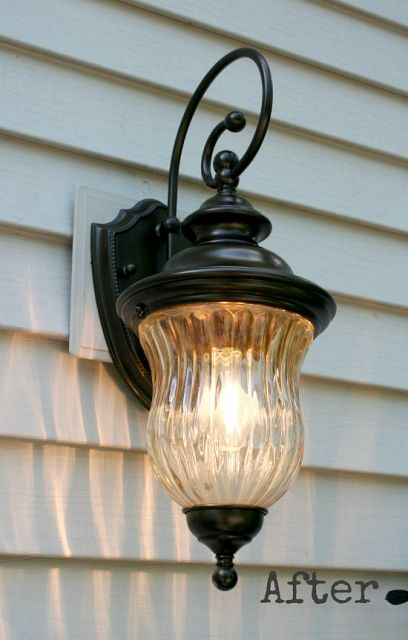 outdoor light fixture after being painted
