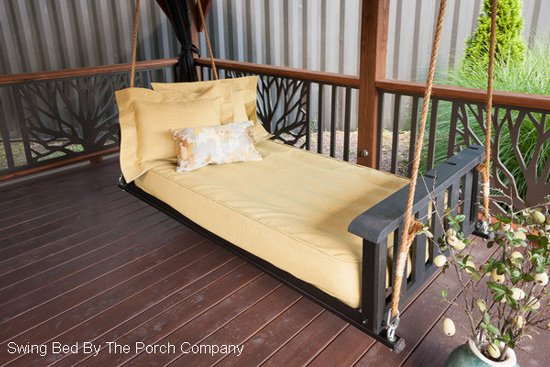 comfortable swing bed with linens and mattress