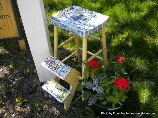 decorated stool as outdoor decor