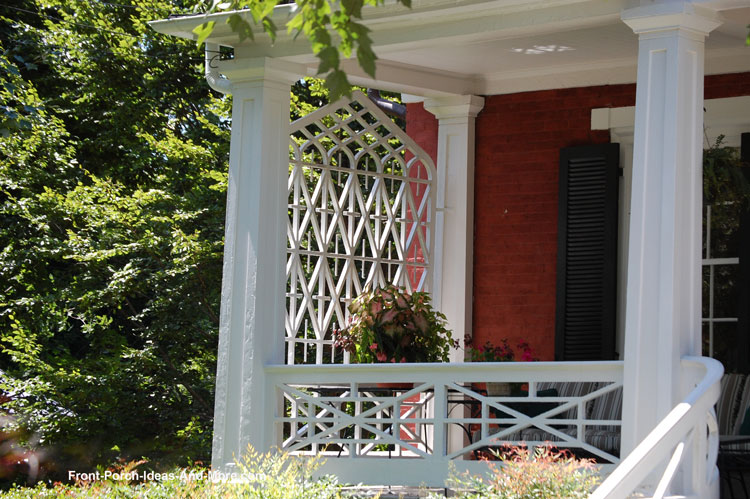 lattice privacy screen on end of front porch