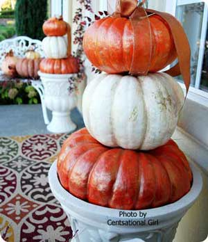 mult-colored pumpkin stack