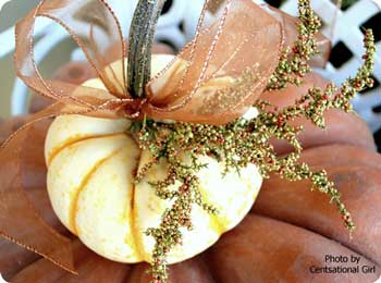 small white pumpkin decorated with ribbons