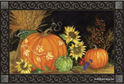 pumpkins and sunflower doormat for fall