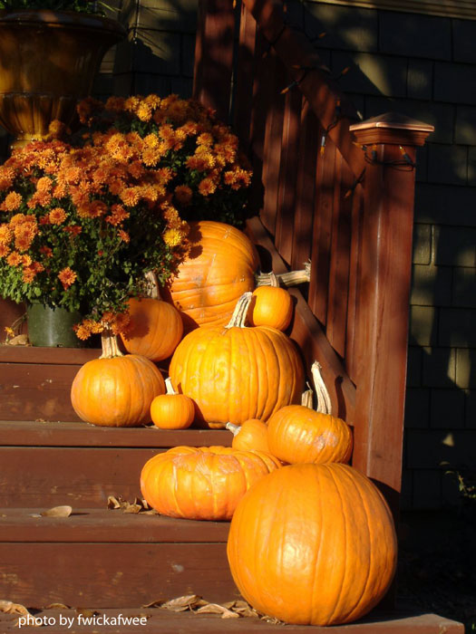 pumpkins and mums lining the front porch steps