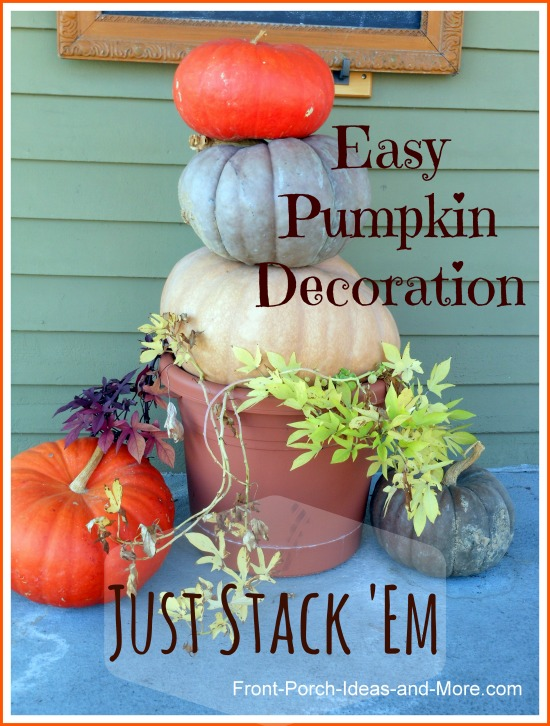 easy autumn decorating by stacking pumpkins in a pot