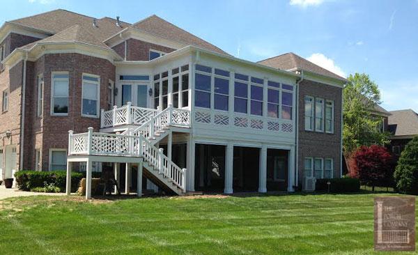 vinyl porch railings combination pattern on front porch