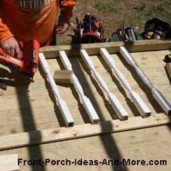 individual constructing a porch balustrade or railing