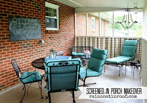 Jenna's screened porch pops with color and fun - Rain on a Tin Roof blog