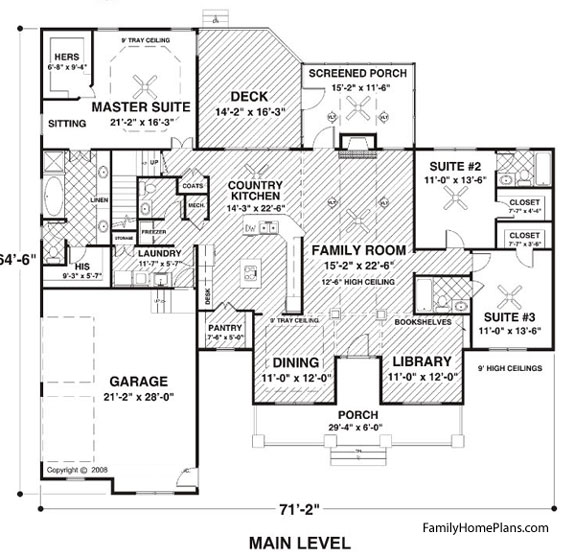 get more specifics at family home plans plan 74834 - Ranch Style House Plans