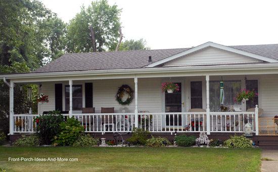 Ranch home porches add appeal and comfort for Shed roof porch designs