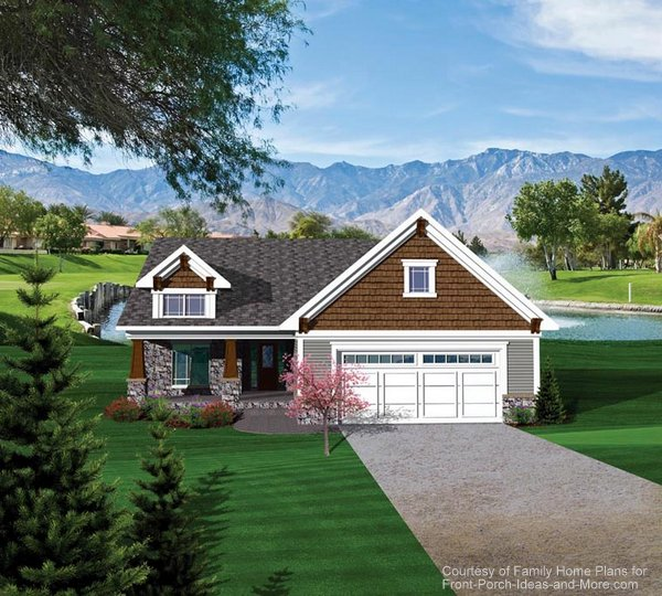 Ranch home with very nice front porch - beautiful stone work and shakes combine to make this a wonderful home. Plan # 73150.