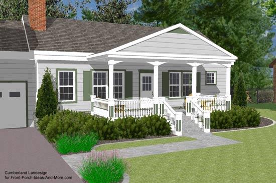 3d rendering of gable roof over front door