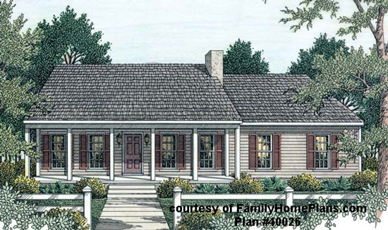 Ranch home and front porch plan from Family Home Plans #40026