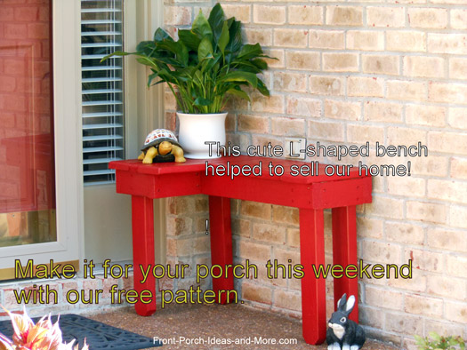 Red porch bench-get our free tutorial