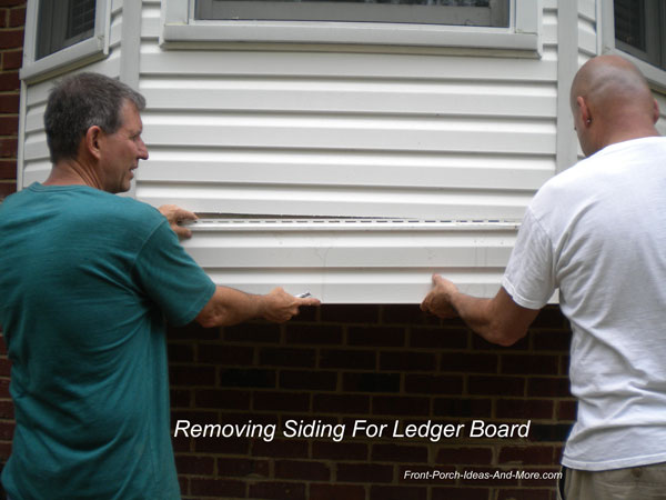 removing vinyl siding for ledger board installation