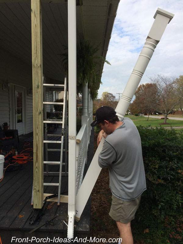 installing new porch column on front porch