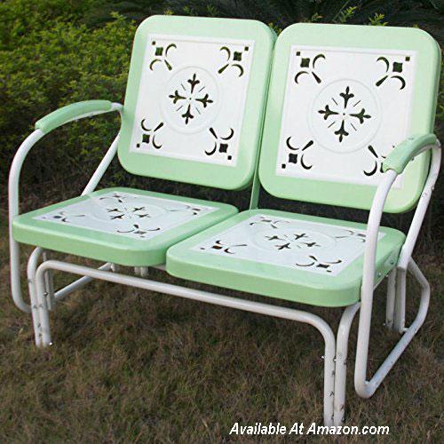 nostalgic retro glider in green and white from Amazon.com