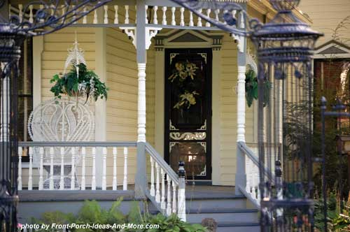 exterior house trim on Victorian front porch