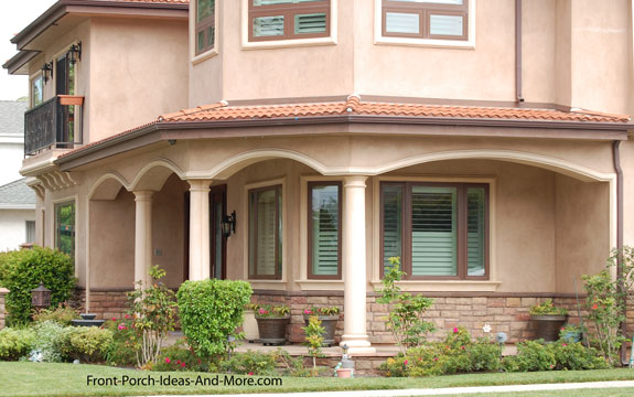 stucco romanesque columns on a residential front porch in southern California