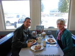 Eating breakfast at the Lighthouse Cafe